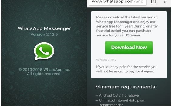 WhatsApp Version 2.12.5 and 2.12.7 also Got WhatsApp Free Voice Calling Feature