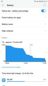 LeEco Le 2 battery back-up