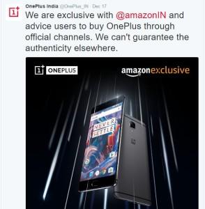 OnePlus Tweeted about OnePlus 3 Sale on Flipkart
