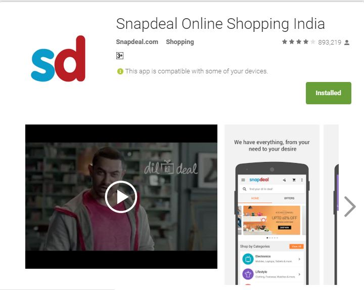 Aamir Khan Snapdeal App Uninstall User Ratings