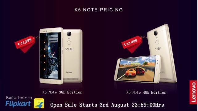 Lenovo Vibe K5 Note price