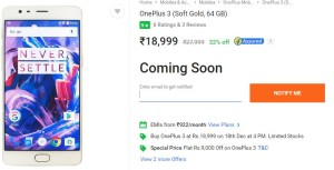 OnePlus 3 sale on Flipkart at Rs 18,999