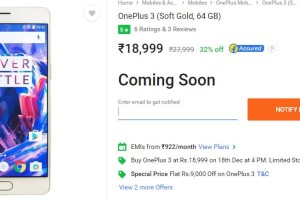 OnePlus 3 sale on Flipkart at Rs 18,999