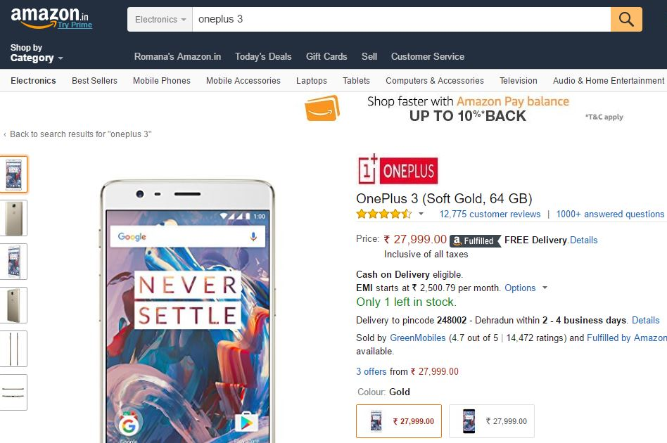OnePlus 3 Price on Amazon India