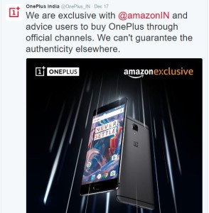 OnePlus Tweeted about OnePlus 3 Sale on Flipkart